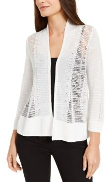 Mixed-Stitch Open-Front Linen-Blend Cardigan, Created for Macy's