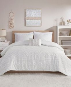 Annie 4 Piece Full/Queen Solid Clipped Jacquard Comforter Set Bedding