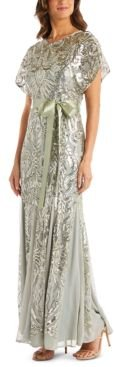 Petite Allover-Sequin Gown