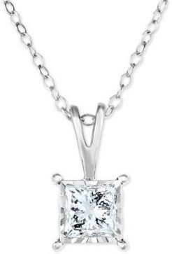 """Diamond Princess 18"""" Pendant Necklace (1/2 ct. t.w.) in 14k White, Yellow, or Rose Gold"""