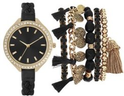 Black Braided Faux Leather Strap Watch 40mm Gift Set