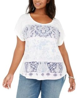 Plus Size Lotus Garden Graphic Top, Created for Macy's