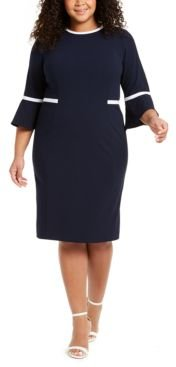 Plus Size Piped Bell-Sleeve Sheath Dress
