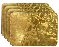 Reversible Metallic Shimmering Water Cube Dining Table Indoor Outdoor Placemats - Set of 4