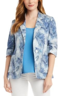 Palm-Print Ruched-Sleeve Jacket
