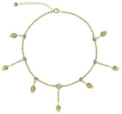 Bodifine Cubic Zirconia Leaves 10K Gold-Tone Sterling Silver-Tone Anklet