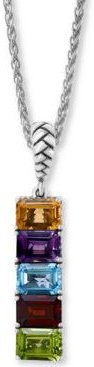 """Effy Multi-Gemstone (5-3/4 ct-t.w.) 18"""" Pendant Necklace in Sterling Silver"""