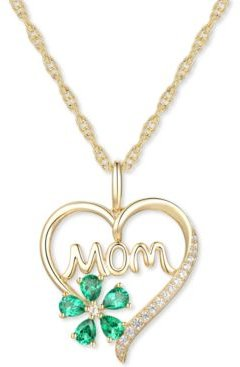 """Lab-Created Emerald (5/8 ct. t.w.) & Lab-Created White Sapphire (1/10 ct. t.w.) Mom 18"""" Pendant Necklace in 10k Gold"""