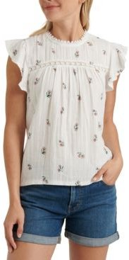 Cotton Floral-Print Crochet-Trim Top