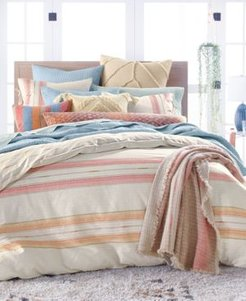 Closeout! Lucky Brand Baja Stripe Quilted Cotton 230-Thread Count 3-Pc. Full/Queen Duvet Set, Created for Macy's Bedding