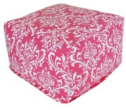 """French Quarter Ottoman Square Pouf with Removable Cover 27"""" x 17"""""""
