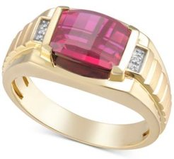 Lab-Created Ruby & Diamond Accent Ring in 18k Gold-Plated Sterling Silver (Also in Lab-Created Sapphire)