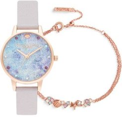 Under The Sea Pearly Lilac Leather Strap Watch 34mm Gift Set
