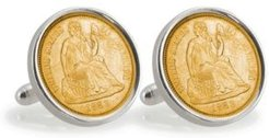 Gold-Layered Civil War Seated Liberty Silver Dime Sterling Silver Coin Cuff Links
