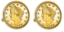 Gold-Layered 1800's Liberty Nickel Bezel Coin Cuff Links