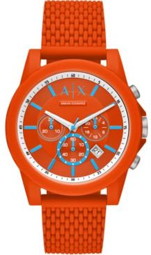 Chronograph Outerbanks Orange Silicone Strap Watch 44mm