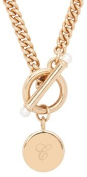 Stella Imitation Pearl Initial Toggle Necklace