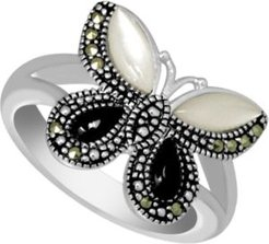 Swarovski Marcasite, Onyx, & Mother-of-Pearl Butterfly Ring in Fine Silver-Plate