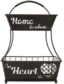 Home is Where the Heart is 2 Tier Flatback Basket