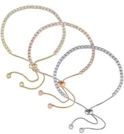 3-Pc. Set White Topaz Bolo Bracelet Set (11-1/3 ct. t.w.) in 18k Tricolor Gold-Plated Sterling Silver