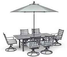 """Highland Outdoor 7-Pc. Dining Set (84"""" x 42"""" Dining Table and 6 Swivel Chairs) with Sunbrella Cushions, Created for Macy's"""
