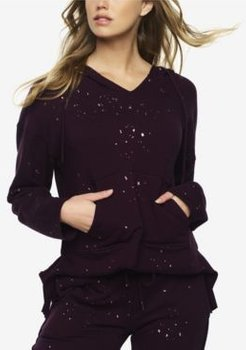Textured Terry Lounge Hoodie with Metallic Foil Print