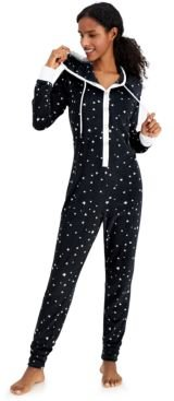 Hooded Velour One Piece Unionsuit Pajamas, Created for Macy's