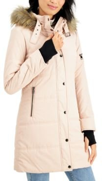Juniors' Faux-Fur Trim Hooded Puffer Coat