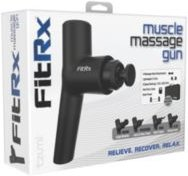 FitRx: Muscle Massage Gun Handheld Therapeutic Percussion Massager with 6 Speed Settings and 4 Swappable Heads for Premium Muscle Relief