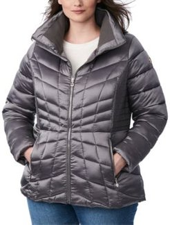Plus Size Packable Water-Resistant Puffer Coat