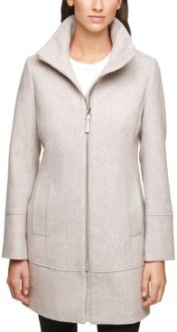 Petite Faux-Leather Trim Coat, Created for Macy's