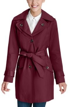 Petite Hooded Belted Water-Resistant Trench Coat, Created for Macy's