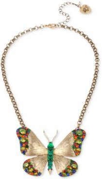 """Gold-Tone Multicolor Crystal Butterfly Pendant Necklace, 16"""" + 3"""" extender"""
