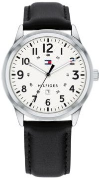 Black Leather Strap Watch 42mm, Created for Macy's