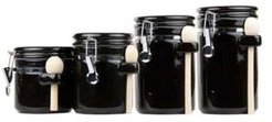 Ceramic 4-Pc. Canister Set with Wooden Spoons