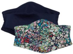 Cotton Solid & Ditsy Floral-Print Face Mask 2pc Set