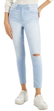 Juniors' High Rise Ripped Skinny Ankle Jeans