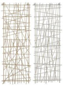 Large Rectangular and Crosshatched Abstract Art Metal Wall Decor Panels, Set of 2