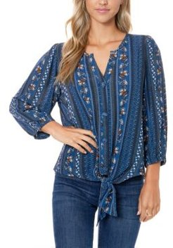 Crinkle Woven Printed Tie Front Top