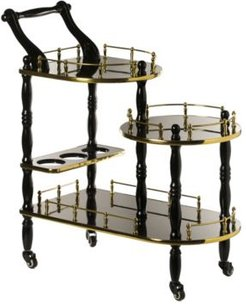 Wood Serving Bar Cart Tea Trolley with 3 Tier Shelves and Rolling Wheels
