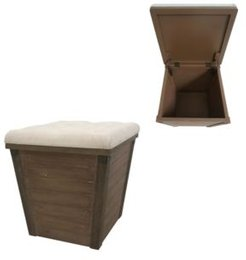 Cenicer Tufted Linen Top and Fir Wood Storage Ottoman
