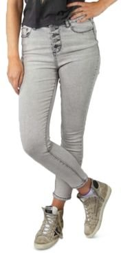 Juniors' High-Rise Button-Fly Skinny Ankle Jeans