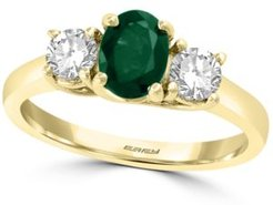 Effy Emerald (3/4 ct. t.w.) & White Sapphire (3/4 ct. t.w.) Ring in 14k Gold