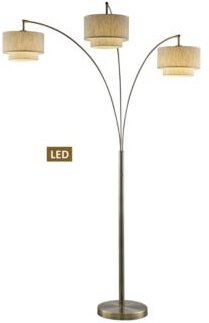 """Lumiere Iii 83"""" Double Shade Off-White Shade Led Arched Floor Lamp with Dimmer"""