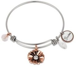 """Rose Gold Two-Tone Crystal """"Grandma"""" Flower Bangle Bracelet in Stainless Steel with Silver Plated Charms"""