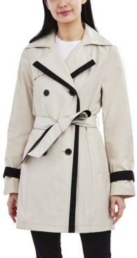 Color-Blocked Belted Trench Coat
