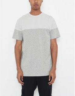 Crew Neck T-shirt with Color Block and Logo Patch