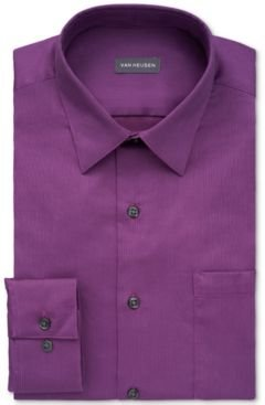 Classic/Regular-Fit Stain Shield Performance Stretch Grape Purple Textured Dress Shirt