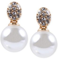 Gold-Tone Crystal and Glass Pearl Earrings