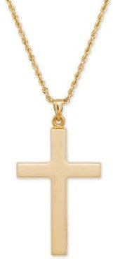 Polished Cross Pendant Necklace in 14k Gold